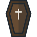 Box, cross, death, halloween, coffin DarkOliveGreen icon