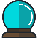 wizard, magic, halloween, future, witch, magician, astrology, Crystal Ball DarkTurquoise icon