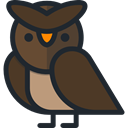 bird, hunter, owl, Animals DarkOliveGreen icon