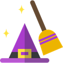 broom, halloween, horror, Terror, hat, witch, spooky, scary, Costume, fear Black icon