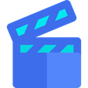 cinema, film, movie, interface, filming, technology, entertainment, film reel, video player RoyalBlue icon