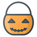 Bucket, halloween, pumpkin, trick, treet Black icon