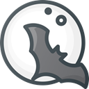 vampire, Moon, bat, halloween DarkSlateGray icon