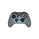 Blue, controller, halo, gamer, xbox one Black icon