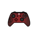 Gear, red, controller, gamer, xbox one Black icon