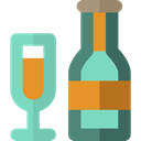 Glasses, party, Celebration, Alcoholic Drinks, Alcohol, food, Bottle, champagne MediumAquamarine icon
