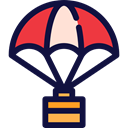 Business And Finance, Safe, Delivery, landing, Parachuting, Box MidnightBlue icon