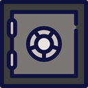 secure, security, savings, steel, banking, Business And Finance MidnightBlue icon