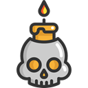 medical, Candle, Dead, skull, halloween, dangerous, signs, Poisonous, Healthcare And Medical Black icon