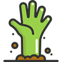 spooky, scary, fear, halloween, horror, zombie, Terror, Hand, Dead YellowGreen icon