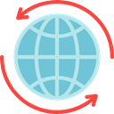 World Grid, Planet Earth, Earth Globe, Earth Grid, Geography, Maps And Flags SkyBlue icon