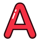 A, Alphabet, letters, Letter, red Black icon