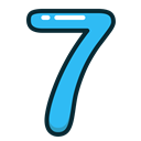 Blue, numbers, number, seven Black icon