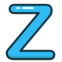Letter, Alphabet, z, letters, Blue Black icon