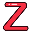 Letter, red, Alphabet, z, letters Black icon