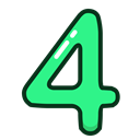 green, numbers, number, Four, study Black icon