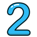 numbers, number, two, study, Blue Black icon