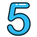 Blue, numbers, number, study, five Black icon
