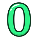 green, numbers, number, zero, study Black icon