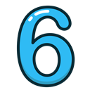 Blue, numbers, number, study, six Black icon