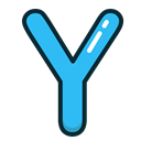 y, Letter, Alphabet, letters, Blue Black icon