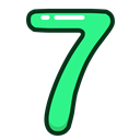 number, study, seven, green, numbers Black icon
