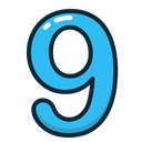 Blue, numbers, number, study, nine Icon