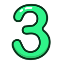 green, number, three, study, numbers Black icon
