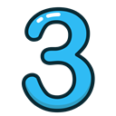 study, Blue, numbers, number, three Black icon