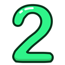 green, numbers, number, two, study Black icon