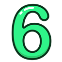 study, six, green, numbers, number Black icon