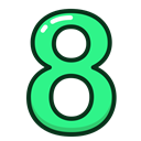 green, numbers, number, study, Eight Black icon