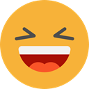 laughing, emoticons, Emoji, feelings, Smileys Goldenrod icon