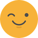 Smileys, wink, emoticons, Emoji, feelings Goldenrod icon