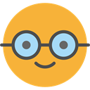 nerd, emoticons, Emoji, feelings, Smileys Goldenrod icon