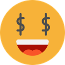 emoticons, greed, Emoji, feelings, Smileys Goldenrod icon