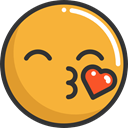 kiss, emoticons, Emoji, feelings, Smileys Goldenrod icon