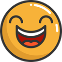 happy, laughing, emoticons, Emoji, feelings, Smileys Goldenrod icon