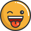 wink, emoticons, Emoji, feelings, Smileys Goldenrod icon