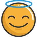 Angel, emoticons, Emoji, feelings, Smileys Goldenrod icon