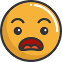 Emoji, feelings, Smileys, surprised, Angry, emoticons Goldenrod icon