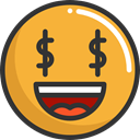 Smileys, emoticons, greed, Emoji, feelings Goldenrod icon