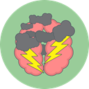 Cloud, thunder, Brain storm DarkSeaGreen icon