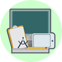 Pen, Computer, tools, ruler, creative, technology, drawing pad Gainsboro icon