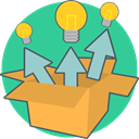 Energy, Idea, Box, creative, think out of the box LightSeaGreen icon