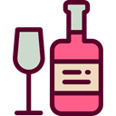 wine, party, Alcohol, food, Bottle, Celebration, Wine Bottle, Alcoholic Drinks, Food And Restaurant Maroon icon