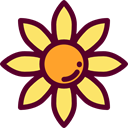 blossom, Botanical, Flower, nature, sunflower, petals Maroon icon