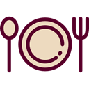 Fork, Plate, Restaurant, Dish, spoon, Food And Restaurant Black icon