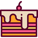 Food And Restaurant, Dessert, sweet, Bakery, Piece Of Cake, food Maroon icon