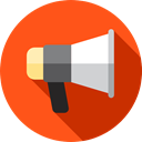 speaker, advertising, megaphone, Loud, marketing, Seo And Web OrangeRed icon